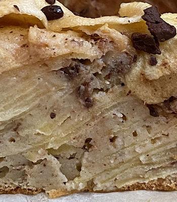 Portada pastel de manzana en laminas