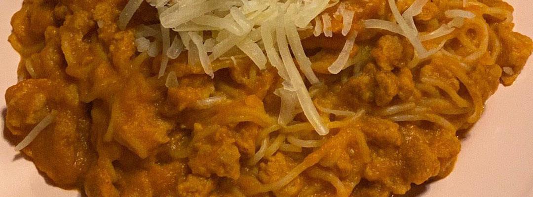 Portada Pasta de konjak con salsa boloñesa vegana